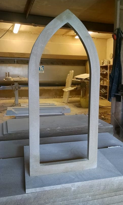 Bespoke carved stone window - ready for new glass